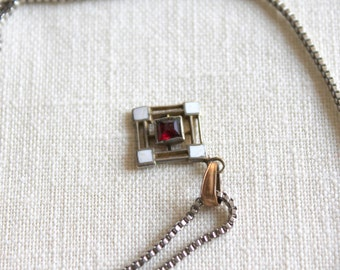 Vintage Garnet Necklace, Art Deco Style Garnet Pendant and Chain