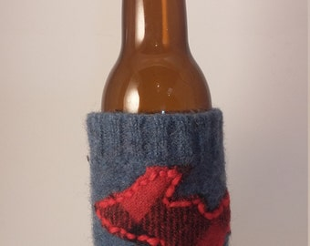 Yooper Plaid Beer Cozy- Eco friendly, upcycled, felted wool can/bottle cozy