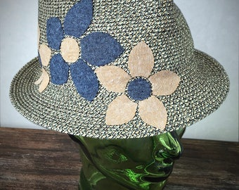 Cotton/Paper Sewn Straw Fedora with Flower Applique