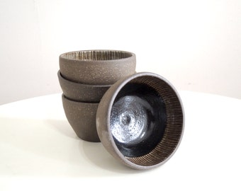 Black and white striped stoneware bowl, small size
