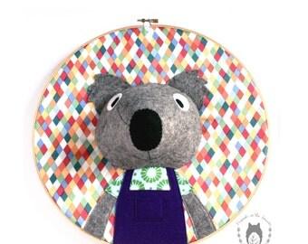 Custom koala embroidery hoop wall art, 3D portrait,wall art, nursery decor, australian animal portrait, kids bedroom, australiana