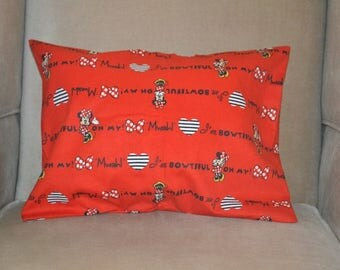 Travel Pillow Case / Child Pillow Case Walt Disney MINNIE MOUSE in Red in Flannel / Mickey Mouse