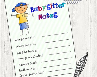 Babysitter Notes, Babysitter Checklist, Child Care Checklist, Babysitting list, Child Care Organizer, Acrylic Holder