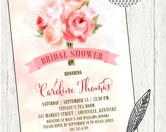 Bridal Shower Invitation, Bridal Brunch Invitation, Bridal Tea Invitation, Bridesmaids Luncheon Invitation, Bouquet. Printable