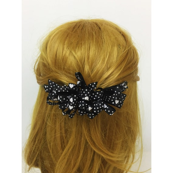 90's Black Hearts Hair Bow French Clip - Black & White Polka Dot Statement Hair Bow French clip - Vintage Girly Hearts Funky Bow Hair Clip