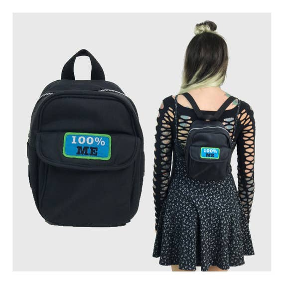 90's Black Mini Backpack Purse 100% ME Patch - Black Cyber Grunge Trendy Vinyl Bookbag Purse Mini Backpack - Rare Small 90s Girl Accessory