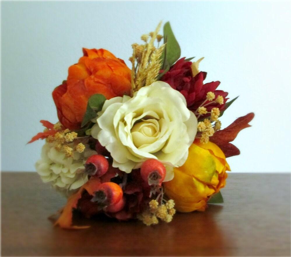 Silk Orange Fall Flowers: Fall Silk Flower Bouquet Ivory Red Orange Yellow And Tan