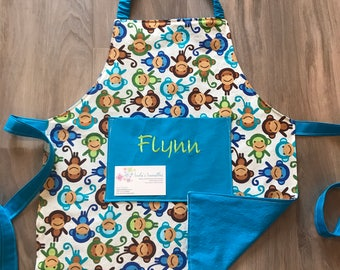 Toddler monkey apron with pocket and elastic neck