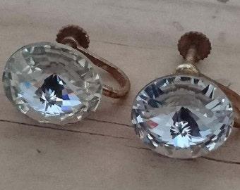 Vintage rhinestone screw back earrings