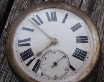 Large Antique sterling silver pocket watch Charles Horner Pocket watch