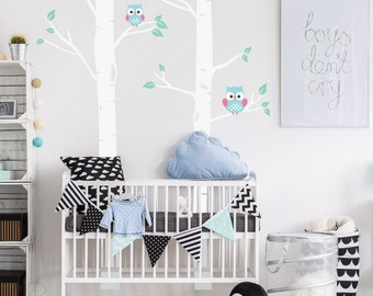 Nursery Birch Trees With Owls, Woodland Tree Forest Wall Decals, Childrens Room Nursery