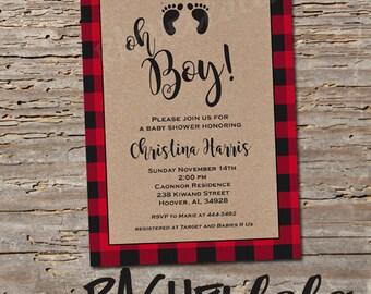Lumberjack, red buffalo plaid, printable Baby shower invitation, digital download template, classic, kraft, oh boy, winter, fall, wilderness