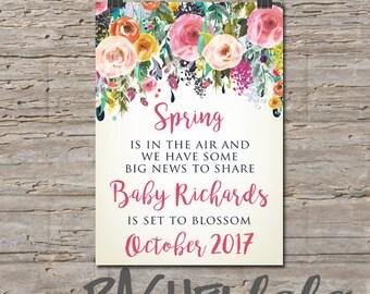 Floral watercolor, Spring Pregnancy announcement, printable, digital print