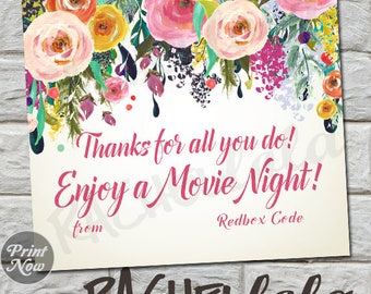 Floral Redbox Code, thank you card, teacher movie night gift tag, neighbor last minute gift, printable template, instant digital download