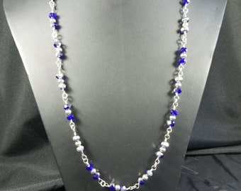 Navy and Silver Crystal Bead Necklace