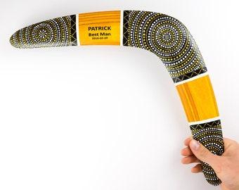 """Boomerang """"Golden Sun"""", Groomsmen Gift, Mens Personalize Boomerangs, Groomsman Gifts, Boomerangs, outdoor game"""