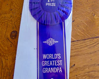 """Vintage 1st Prize Ribbon / """"World's Greatest Grandpa"""" / Ribbon Award / """"For the Person Who Deserves the Finest"""""""