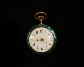 Vintage Enameled Ladies Watch Pendant / Swiss Movement Watch