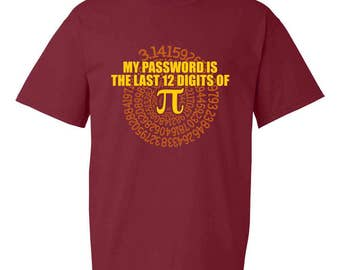 My Password is the Last 12 Digits of Pi Funny Adult Mens T-Shirt Garnet Red