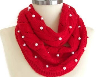 WINTER SALE Pearl Scarf, Red Knitting Scarf, Scarf Pearl, Winter Scarf Handknit Scarf Infinity Scarf, Knitted Scarf, Women Scarf