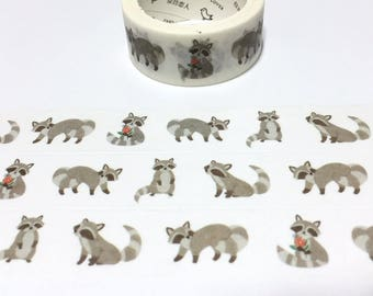 raccoon washi tape raccoon sticker tape cute animal rare animal cartoon animal raccoon theme masking tape forest animal deco scrapbook gift