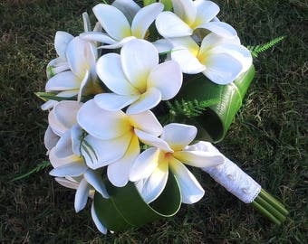 White Plumeria Wedding Bouquet - Destination Wedding Tropical Flowers
