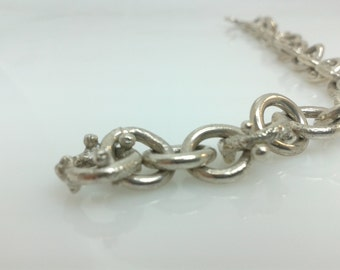 Handforged, fused recycled silver chain bracelet
