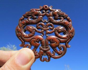 "Jade Dragon Mandala Pendant, Large Chinese ""Old Jade"" Intricate Carving, Double Sided Jade Mandala - Stone Dragon Carved Necklace"