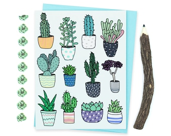 Succulent Card, Thinking of You Cacti Card, Cactus Note Card, Succulent Garden Illustration, Cacti and Pottery Greeting Card, Succulents