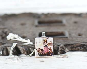 Lady Commander Charm Necklaces, Gift Ideas for Her, Strong Women, Victorian Art Pendant, Upcycled Jewelry, Strong and Courageous, Scrabble