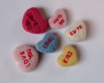 Needle felted love hearts, personalised hearts,  Wedding favours,love hearts, needle felted,  Anniversary gift, retro