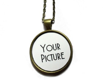 Personalized Necklace - custom photo necklace - Gift For Wife - Romantic Girlfriend Gift - Wedding Anniversary - Gift For Mom