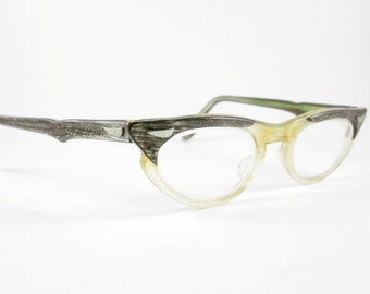 Glitter Cat Eye Glasses Frames Vintage Eyewear Mid Century Winged Clear Bottom
