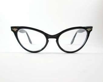 Black Cat Eye Glasses SRO Frames Vintage Eyewear Mid Century