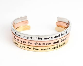 I love you to the Moon and Back Cuff Bracelet, Custom Hand Stamped Bracelet, Personalized Gift, Personalized Bracelet, Mother to Daughter