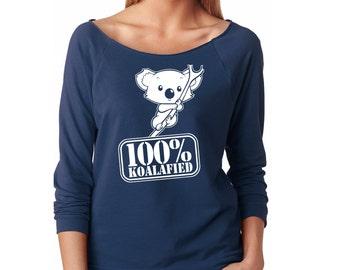 Slouchy Sweatshirt, 100% Koalafied, Koala Bear Sweatshirt, Funny Koala Sweater, 3/4 Sleeve Lightweight Raw Edge Raglan Ringspun Cotton