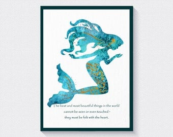 Mermaid Wall Art, Quote Prints, Mermaid Decor, Mermaid Print, Mermaid Quote Decor, Girls Room Decor, Nursery Wall Decor, Wall Hanging