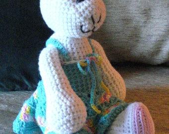"Crocheted bunny rabbit stuffed animal doll toy ""Roxanne"""