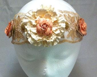 Elastic Headband, Flower Headband, Vintage Headband, Retro Hair Tie, Victorian Style, Vintage Wedding, Bridal Hairband, Flower Hairpiece