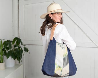 NEW! Twilight NW Tote, Handpieced, Color Blocked, Abstract, Leather, Linen, Denim, Convertible Hobo Bag, Market Tote, Shoulder Bag