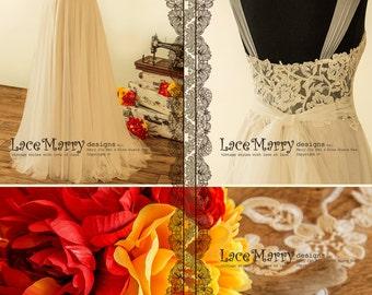 Romantic Sheer Neckline Boho Wedding Dress with Stunning Dark Shade of Underlay | Boho Wedding Dress, A Line Wedding Dress, Backless Dress