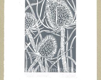 Teasel charcoal grey - Handmade Linocut Print