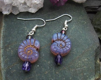 Purple Gold Inlay Ammonite Dangle Earrings