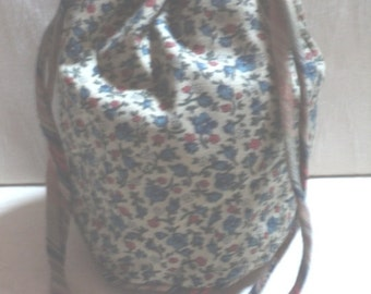 Drawstring Bag, Cosmetic Sack, Blue Millefleur Print, Fully Lined, from The Honey Gamboge Collection, Large Size