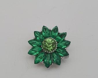 Snap Charm Green Crystal Flower Charm Snap Popper