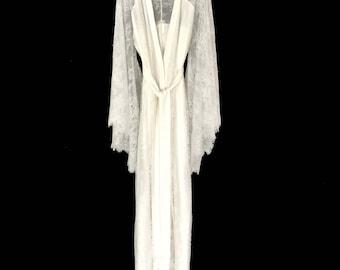 brides lace robe, bridal robe, getting ready lace robe, lace kimono, silk kimono robe, long robe, brides robe, bridal shower gift, silk robe