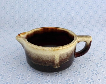 Vintage Creamer, Gourmet Brown, Pfaltzgraff, Brown Drip Ware, Coffee Creamer, Closed Handle