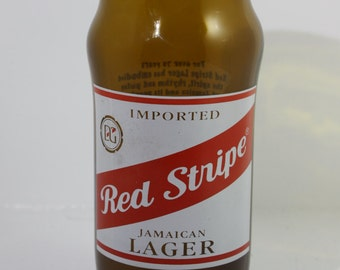 Handmade and artist signed  Red Stripe beer bottle glass - Breweriana