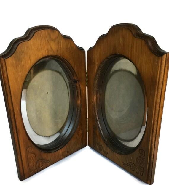 Wood folding picture frame vintage Woodsmen reflective photo holder