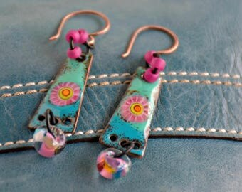 boho style enamel charms color riot mixed media assemblage lollipop earrings